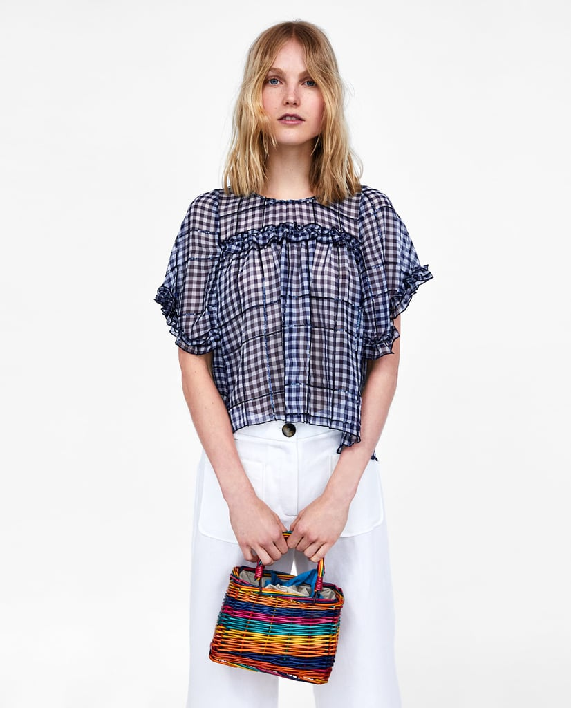 792a28b0954a4 Zara Sequined Gingham Top