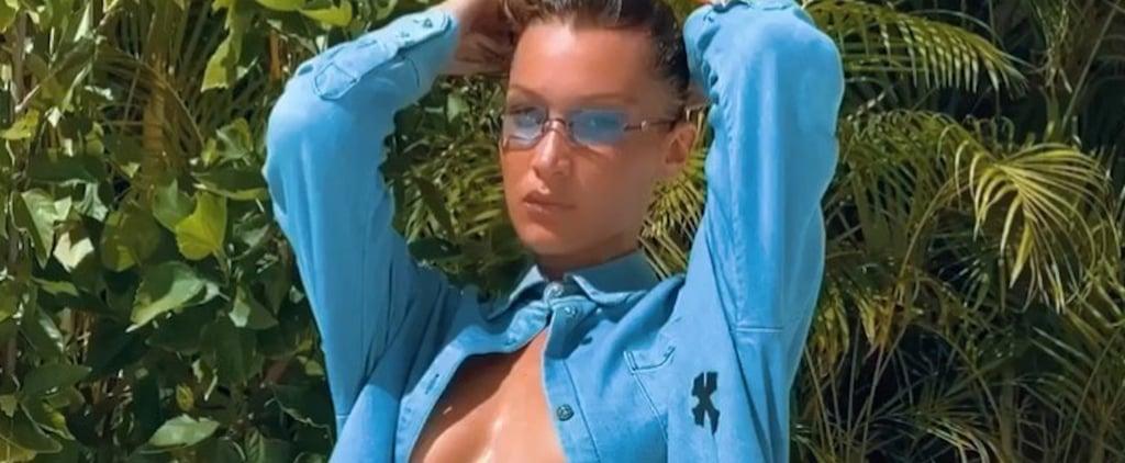 Bella Hadid Forgoes a Bikini Top For a Blue Denim Shirt
