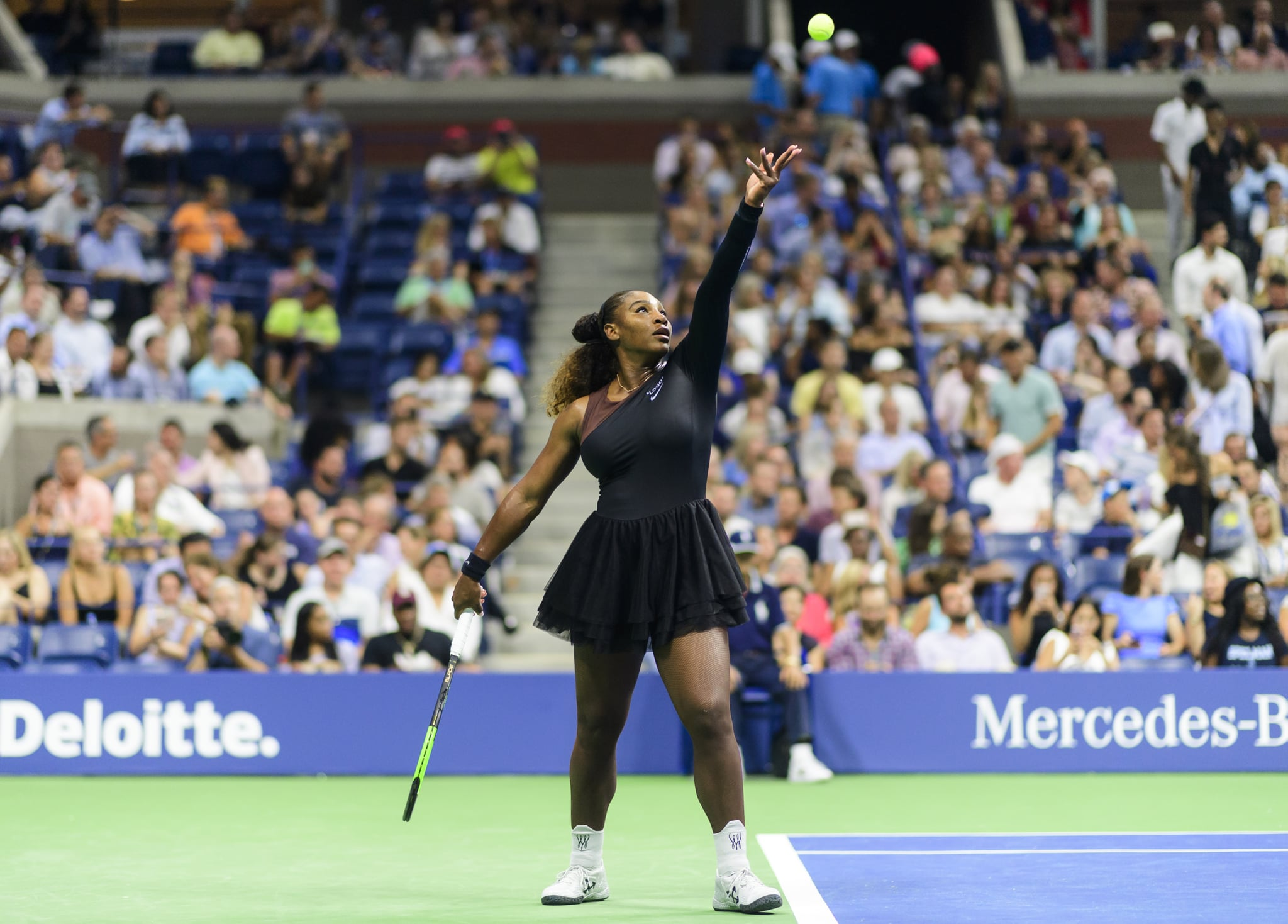 NEW YORK, NY - AUGUST 27: Serena Williams of the United States in action against Magda Linette of Poland in the first round of the US Open at the USTA Billie Jean King National Tennis Centre on August 27, 2018 in New York City, United States. (Photo by TPN/Getty Images)