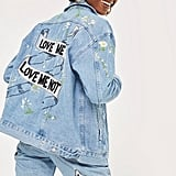 'Love Me Not' Embroidered Denim Jacket