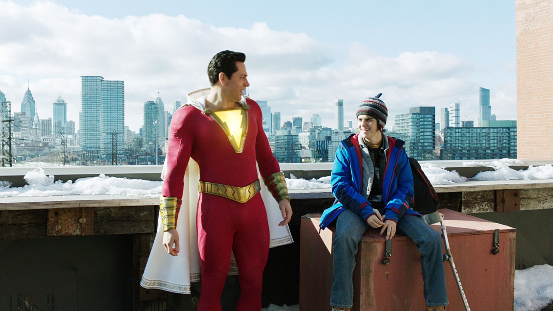 SHAZAM!, from left: Zachary Levi (as Shazam), Jack Dylan Grazer, 2019.  Warner Brothers / Courtesy Everett Collection