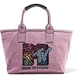 Marc Jacobs Leather-Trimmed Embellished Cotton-Twill Tote