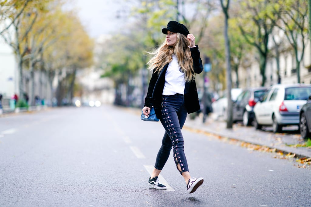 With Lace-Up Jeans, a White Tee, Jacket, and Beret