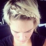 This style is especially good for keeping short hair in place during a workout. Learn how to do a headband braid here.