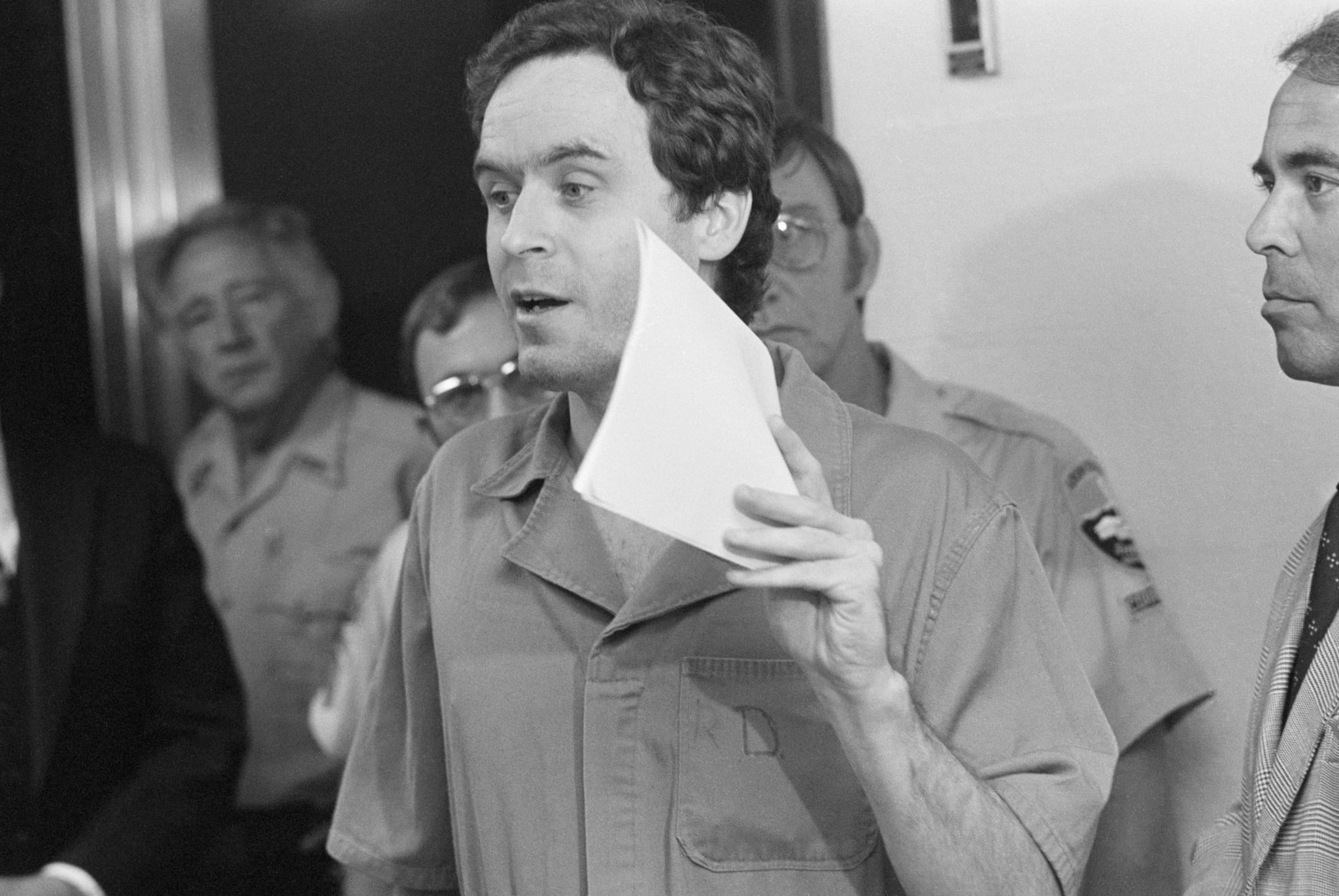 (Original Caption) Tallahassee, FL: Suspected murderer Theodoure Bundy, charged with the killings of FSU coeds Margaret Bowman and Lisa Levy who were beaten and strangled at the Chi Omega house in January. 7/27/1978