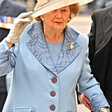 In 2010, Margaret attended the Service of Thanksgiving and Rededication commemorating the 70th Anniversary of the Battle of Britain at Westminster Abbey in a pale blue skirt suit.