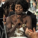 The Help actress Viola Davis posed moments before her win for best female actor in 2012.