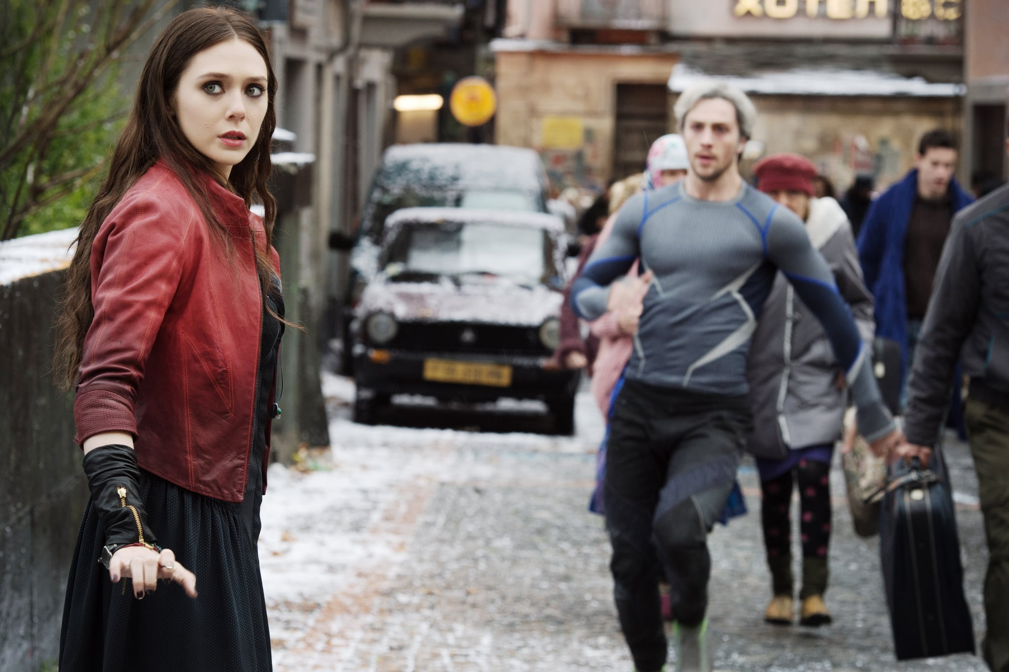 AVENGERS: AGE OF ULTRON, from left: Elizabeth Olsen as Scarlet Witch/Wanda Maximoff, Aaron Taylor-Johnson as Quicksilver/Pietro Maximoff, 2015. ph: Jay Maidment /  Walt Disney Studios Motion Pictures / courtesy Everett Collection
