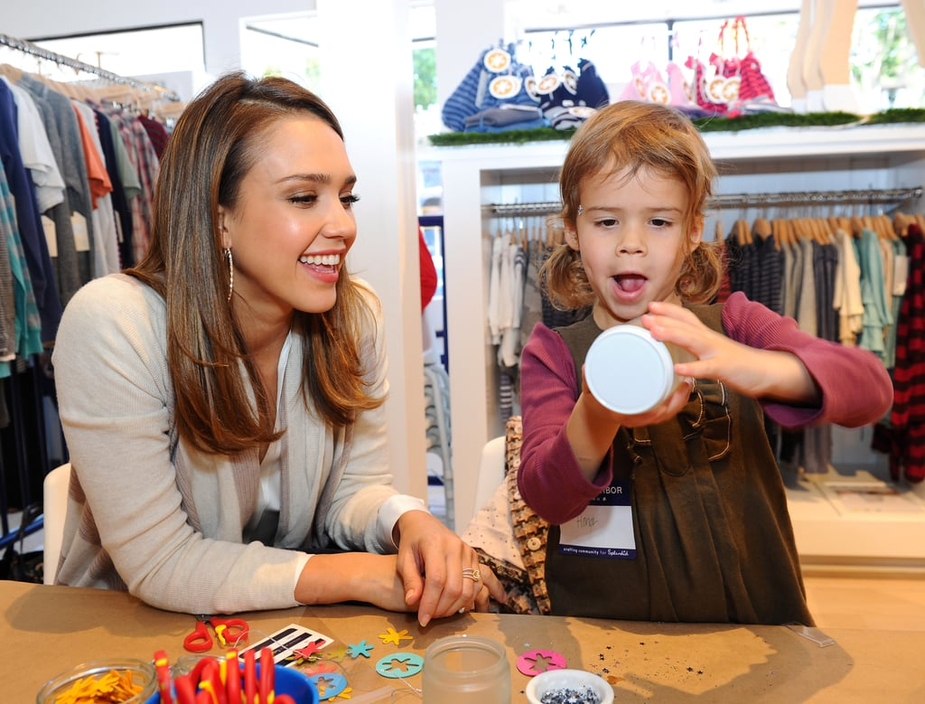 Jessica spent quality time with Honor at the Splendid store opening with Crafting Community and Baby2Baby in Santa Monica in December 2011.