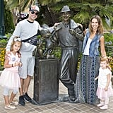 The family spent the day at Disneyland in California in June 2014.