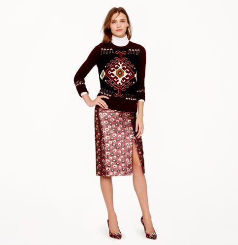 With a slightly sexier slit, this Collection pencil skirt in metallic marigold print ($228) is anything but your average office staple. You'll want to dress this up, or dress it down with a cozy cardigan for night out.
