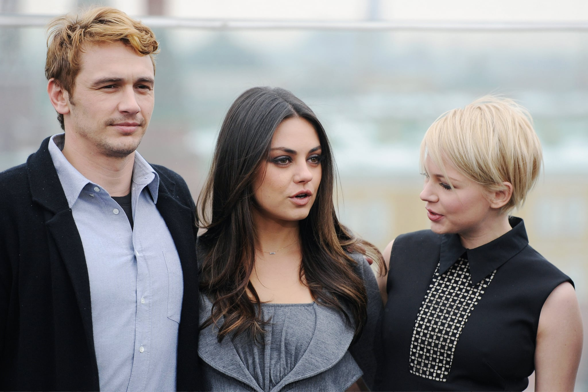 Michelle Williams and Mila Kunis got together with James Franco for an Oz the Great and Powerful photocall in Moscow.
