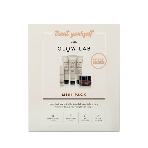 Glow Lab Treat Yourself Mini Pack ($25)  The Glow Lab gift set contains all your daily skincare needs including a cleaner, serum, moisturiser, night cream and body lotion. It's perfect for that friend who is constantly travelling and on-the-go.