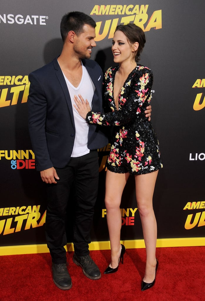 Finally! Kristen Stewart and Taylor Lautner made an adorable appearance together at the LA premiere of her new movie American Ultra on Tuesday. Kristen looked hotter than ever in a revealing romper with a plunging neckline, while Taylor showed off his mature side with sexy scruff and a blazer that perfectly framed his broad shoulders. Their big moment marks the first time fans have caught a glimpse of the Twilight Saga costars since they went to a Sam Smith concert in January.  Kristen also linked up with Jesse Eisenberg, with whom she costars in the action-comedy. They've been busy promoting the movie in the weeks leading up to its Friday release. The stars recently sat down with POPSUGAR to chat about their latest collaboration and why they connect so well together. Read on to see their best pictures from the red carpet!