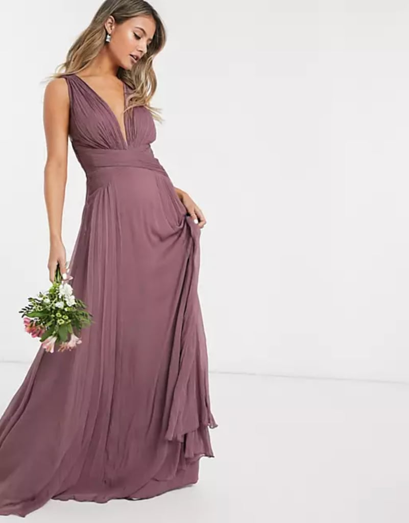 Purple Bridesmaid Dress: ASOS Design Bridesmaid Ruched Bodice Drape Maxi Dress With Wrap Waist