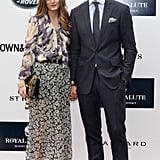 Pairing florals and plaid (note: Johannes's pocket square), the two got preppy for Greenwich, CT's polo field.