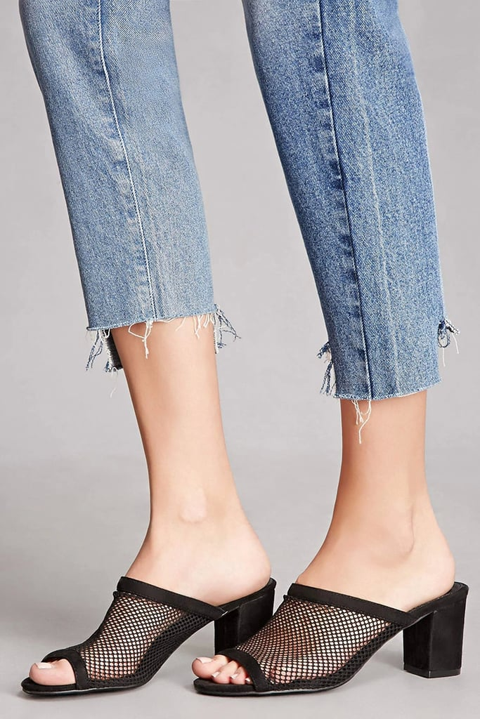 Forever 21 Faux Suede Mesh Mules