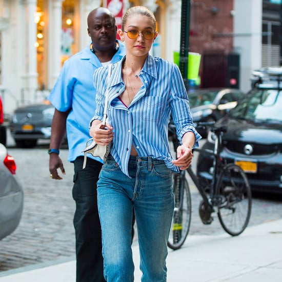Gigi Hadid Wearing Brown Loafers