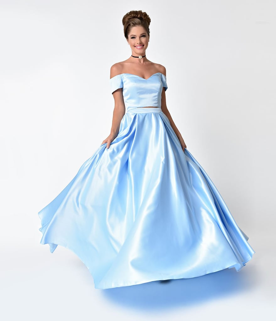 a4ee210eebac9 Perry Blue Off The Shoulder Two Piece Satin Prom Gown