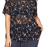 Addition Elle Love and Legend Ruffle Sheer Floral Top