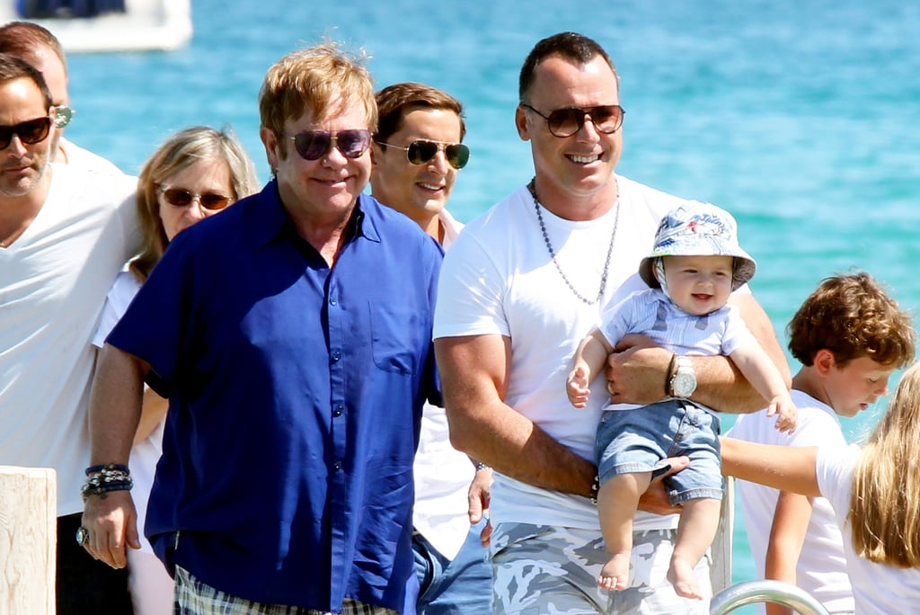 Elton John and David Furnish gave double dad love to son Zachary. They took their son to St.-Tropez in August 2011.