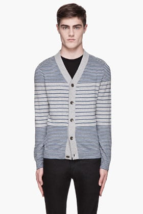 RAG & BONE Heather grey and pale blue striped Frankie Cardigan