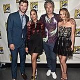 Pictured: Chris Hemsworth, Tessa Thompson, Taika Waititi, and Natalie Portman at San Diego Comic-Con.