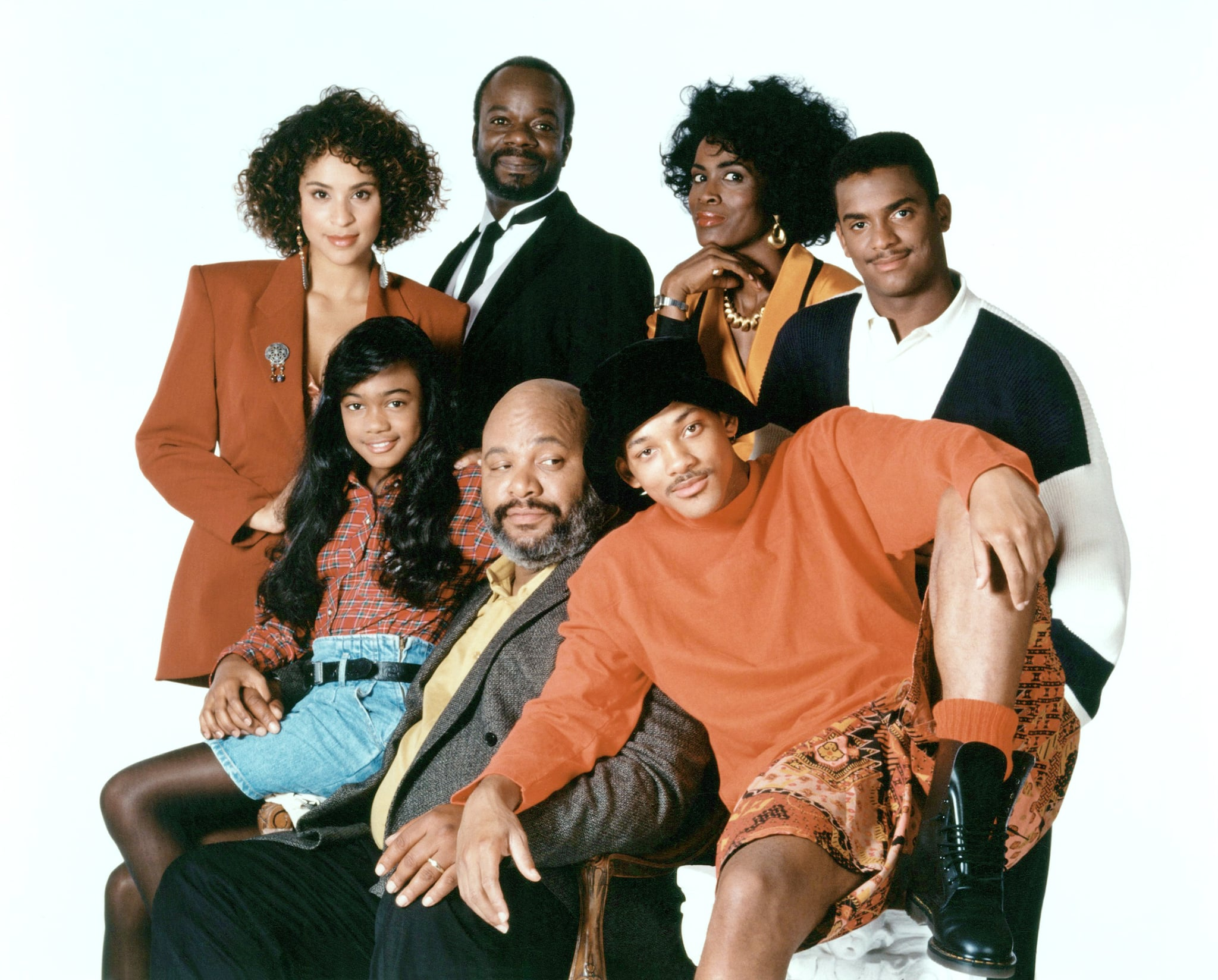 THE FRESH PRINCE OF BEL-AIR, (front, from left): Tatyana Ali, James Avery, Will Smith, (back): Karyn Parsons, Joseph Marcell, Janet Hubert, Alfonso Ribeiro, 1990-96.  NBC / Courtesy: Everett Collection