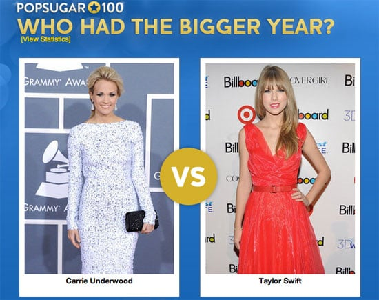 Taylor Swift and Carrie Underwood Faceoff 2012 PopSugar 100