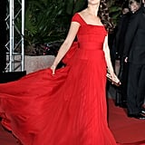 Berenice Bejo's gown flowed behind her on the way into the Cannes Film Festival opening night dinner.