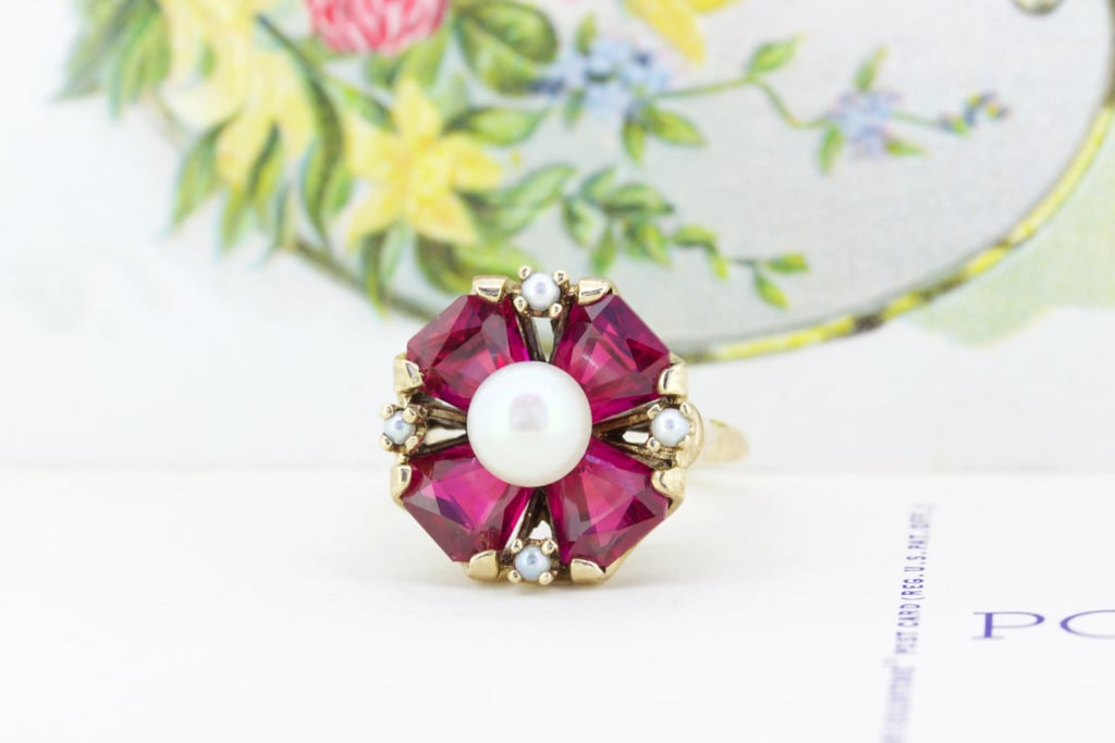 Vintage pearl and ruby engagement ring ($395)