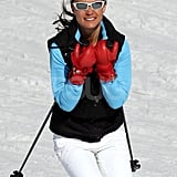 Pippa Middleton took to the slopes without a helmet in France.