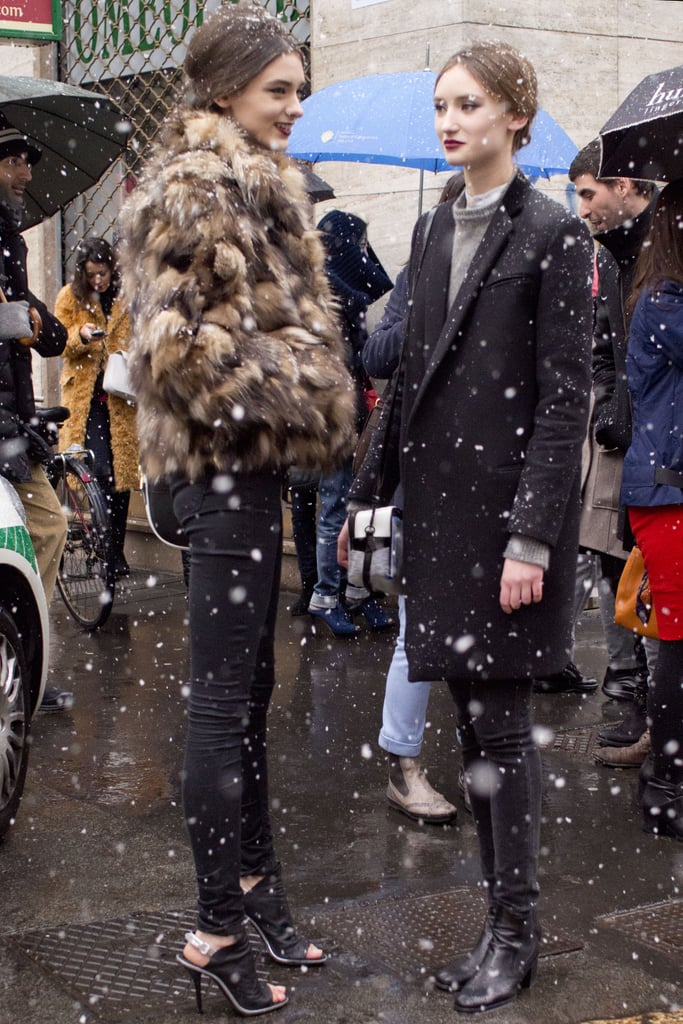 These two kept cool in the snow with a great coat and furry jacket, respectively.
