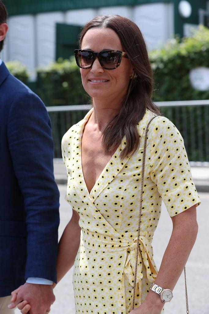 Pippa Middleton Yellow Floral Dress at Wimbledon 2019