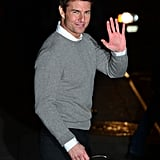 Tom Cruise waved at fans.