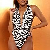 I Saw It First Nude Wear Me Any Way Zebra Print Swimsuit
