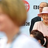 The queen and her husband, Prince Philip, visited Manchester, where she officially opened hospitals, toured the new BBC building at MetroCity, and officially started a Sport Relief Mile fun run.