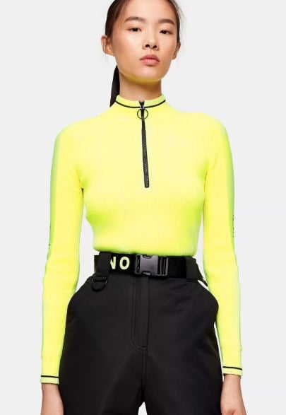 Topshop SNO Neon Yellow Knitted Layering Ski Top