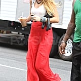 Blake Lively in a red maxi skirt.
