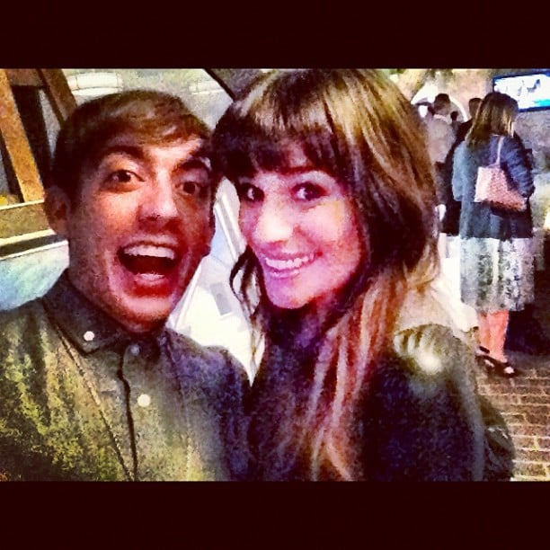Kevin McHale and Lea Michele reunited on the Glee set. Source: Instagram user kevinmchale