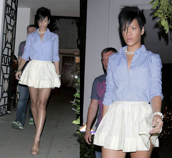 Rihanna Shops at Opening Ceremony boutique in LA in Twenty8Twelve Ivory Skirt, Chambray Blouse and Pearls