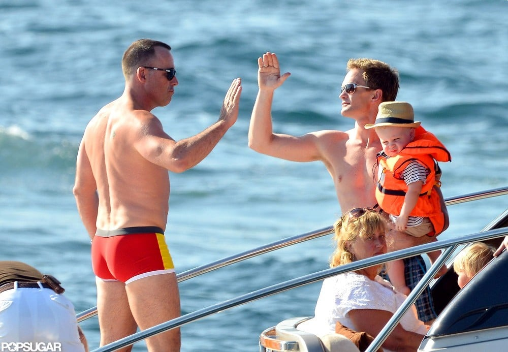 Neil Patrick Harris and David Furnish high-fived in Saint-Tropez.