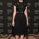 Carey brought decadent drama in peek-a-boo lace and tulle Elie Saab confection and satin black pumps at the NYC premiere of Never Let Me Go.