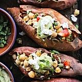 Mediterranean Stuffed Sweet Potatoes With Chickpeas and Avocado Tahini