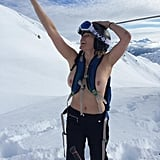 December 2014: Chelsea went topless on a snowy mountaintop, while still wearing all her hiking gear.