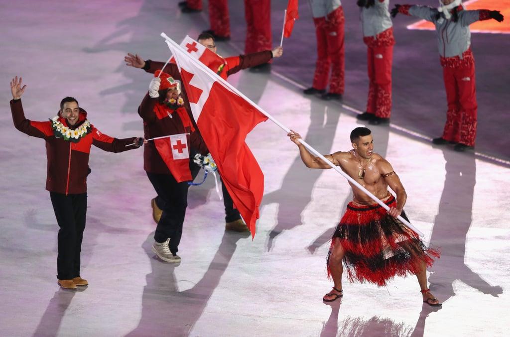 Tongan flag bearer Pita Taufatofua made a dramatic entrance.