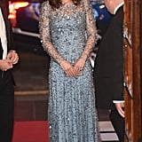 The Duchess of Cambridge Channelled Disney's Elsa For the Night in This Icy-Blue Dress