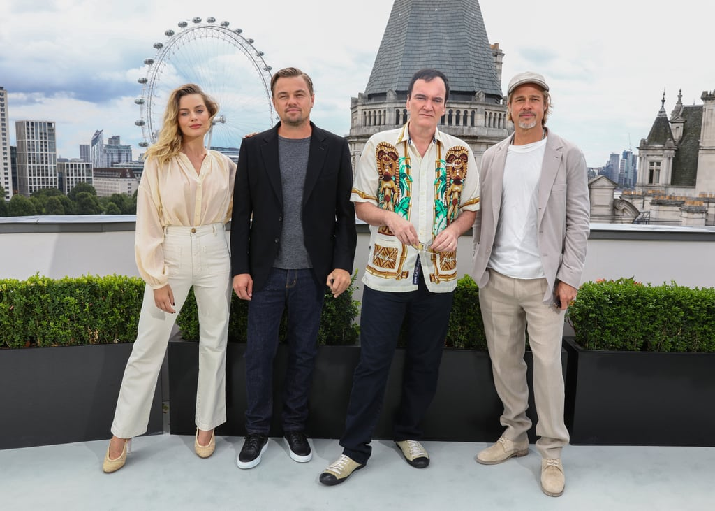 Margot Robbie, Leonardo DiCaprio, Quentin Tarantino, and Brad Pitt at the London photocall of Once Upon a Time in Hollywood.