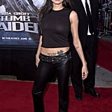 Angelina Jolie's tattoos peered out from under her leather pants at the June 2001 LA premiere of Lara Croft: Tomb Raider.