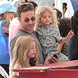Breckin Meyer brought his daughters, Caitlin and Clover, to a farmers market in LA.
